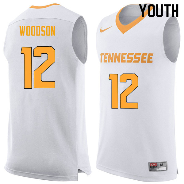 Youth #12 Brad Woodson Tennessee Volunteers College Basketball Jerseys Sale-White