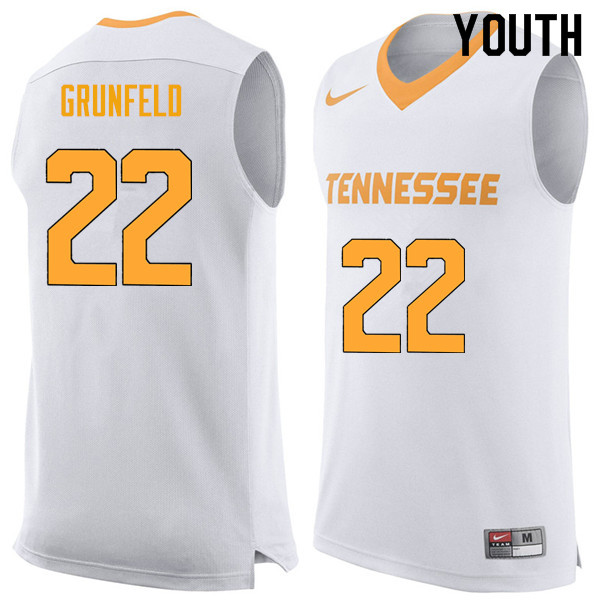 Youth #22 Ernie Grunfeld Tennessee Volunteers College Basketball Jerseys Sale-White