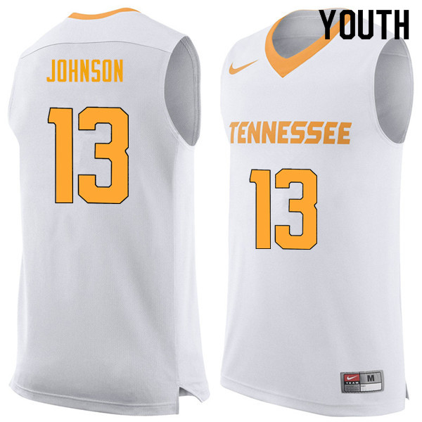Youth #13 Jalen Johnson Tennessee Volunteers College Basketball Jerseys Sale-White