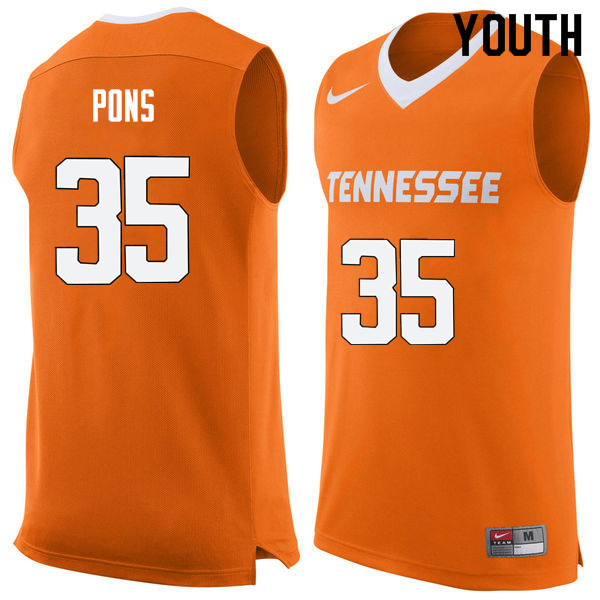 Youth #35 Yves Pons Tennessee Volunteers College Basketball Jerseys Sale-Orange
